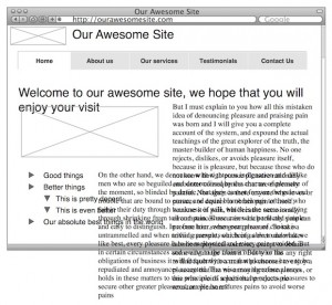 Content First Web Design An unhappy wireframe